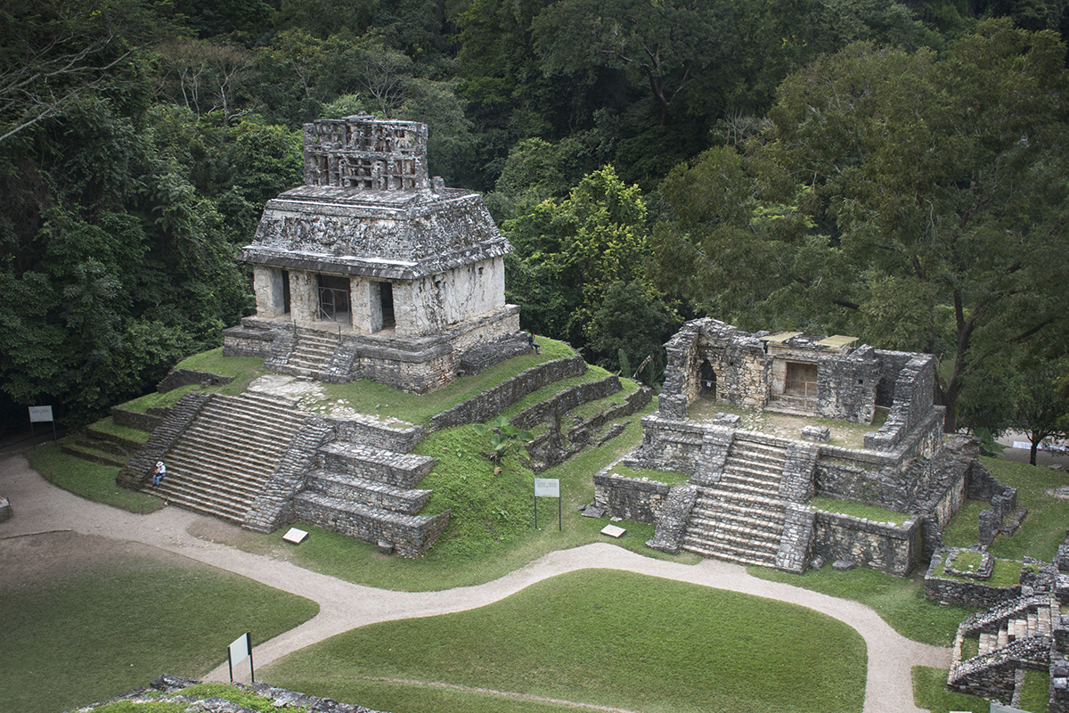 Temple of the Sun (left) and Temple 14 (right), Palenque