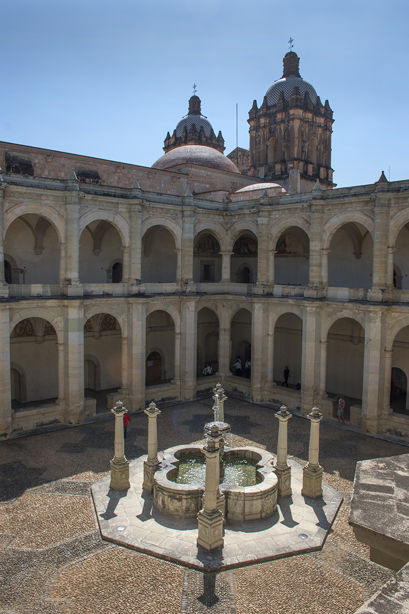 Plaza and fountain in Museo de Cultura de Oaxaca, a former convent.