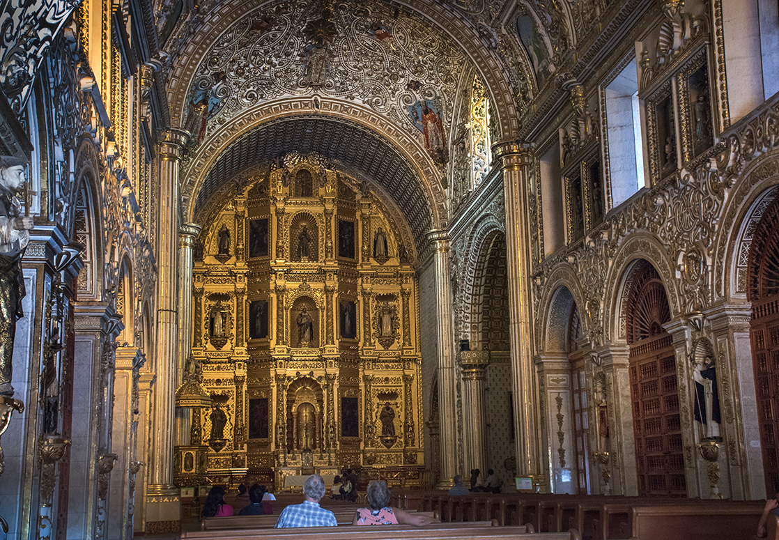 Interior of Templo de Santo Domingo...a baroque gold plated extravaganza.